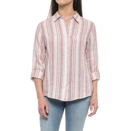 Jones New York Yarn-Dyed Stripe Linen Shirt - Long Sleeve (For Women) in Red Woven Stripe