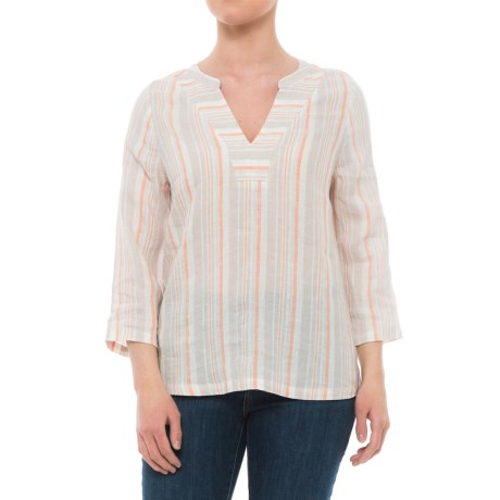 Jones New York Yarn-Dyed Striped Linen Shirt - V-Neck, 3/4 Sleeve (For Women) in Sand Storm Stripe