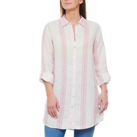 a9e7d62e01c11 Jones NY Pink Combo Yarn Dyed Button-Front Linen Shirt - Long Sleeve (For