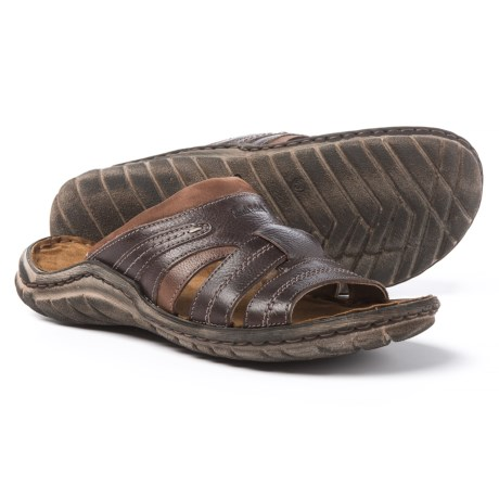 Josef Seibel Nico 01 Slide Sandals - Leather (For Men) in Moro/Kombi Manaus/Kombi