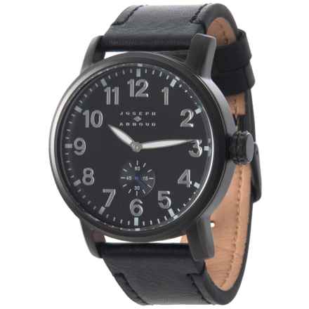 Joseph Abboud Field Dial Watch - Leather Strap (For Men) in Black/Black - Closeouts