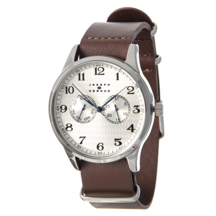 590e977a82978 Joseph Abboud Field Watch - Leather Strap (For Men) in Brown Silver