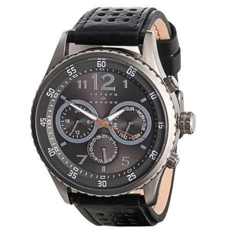 Joseph Abboud Grey Dial Chronograph Watch - Leather Strap (For Men) in Black/Grey