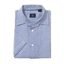 Joseph Abboud Silk-Cotton Sport Shirt - Short Sleeve (For Men) in Steel Blue - Closeouts