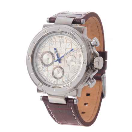 Joseph Abboud Silver Dial Chronograph Watch - Leather Strap (For Men) in Brown/Silver - Closeouts
