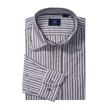 Joseph Abboud Stripe Sport Shirt - Long Sleeve (For Men) in Coffee Bean - Closeouts