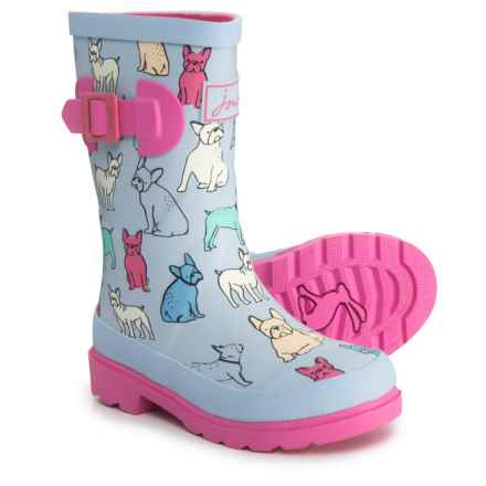 Joules Bulldog Welly Rain Boots (For Girls) in Sky  Blue - Closeouts