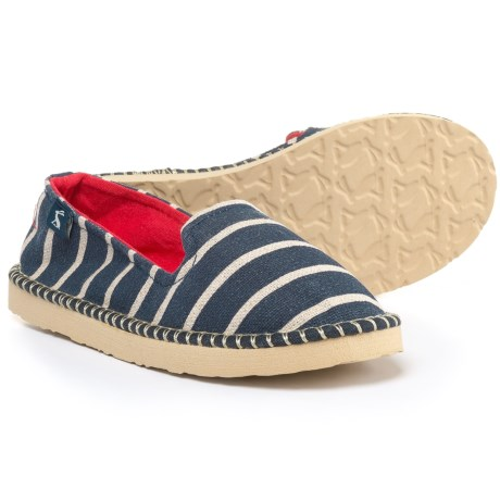 Joules French Stripe Canvas Shoes - Slip-Ons (For Girls) in Navy