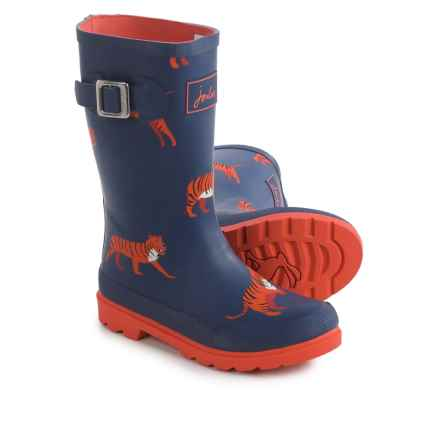 Joules Navy Tiger Rain Boots - Waterproof (For Little and Big Boys) in Navy/Orange - Closeouts