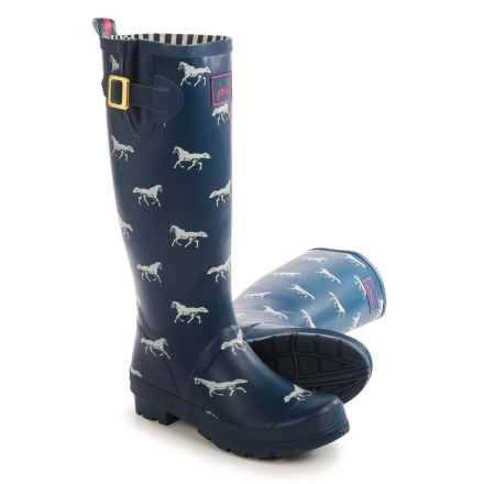 Joules Welly Print Rain Boots - Waterproof (For Women) in Navy/Horse - Closeouts