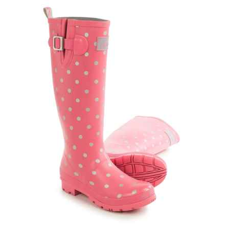 Joules Welly Print Rain Boots - Waterproof (For Women) in Pink/Spot - Closeouts