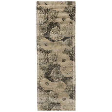 Journey Collection Ivory and Smoke Floor Runner - 2?4?x7?9? Wool-Viscose