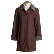 JP 1893 Wool Coat - Faux Fur Trim (For Women) in Brown - Closeouts