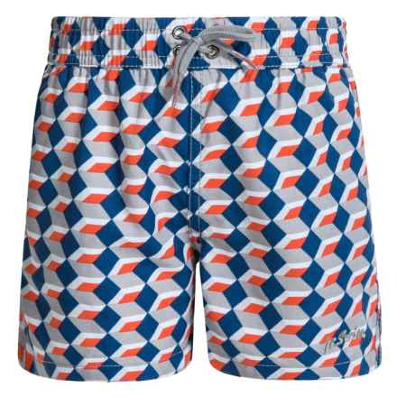 Jr. Swim Print Boxes Swim Trunks - Built-In Briefs (For Little Boys) in Grey - Closeouts