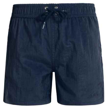 Jr. Swim Shimmer Solid Swim Trunks - Built-In Briefs (For Little Boys) in Blue - Closeouts