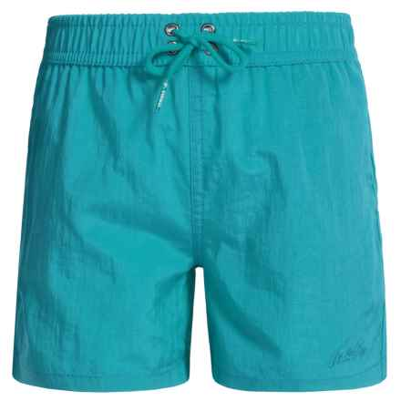 Jr. Swim Shimmer Solid Swim Trunks - Built-In Briefs (For Little Boys) in Cerulean - Closeouts