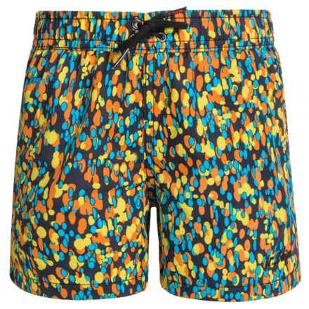 Jr. Swim Splatter-Print Swim Trunks - Built-In Briefs (For Little Boys) in Orange - Closeouts