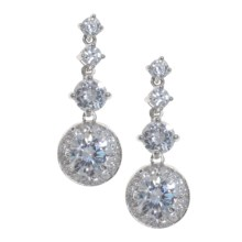 Juilliet Cubic Zirconia Drop Dangle Earrings - Sterling Silver in Clear Cz/Silver - Closeouts