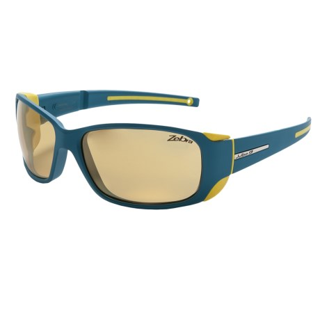 Julbo Montebianco Sunglasses - Photochromic NXT Zebra® Lenses in Matte Blue/Yellow/Zebra