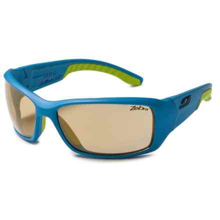 Julbo Run Sunglasses - Photochromic Zebra Lenses in Matte Blue Cyan/Zebra - Closeouts