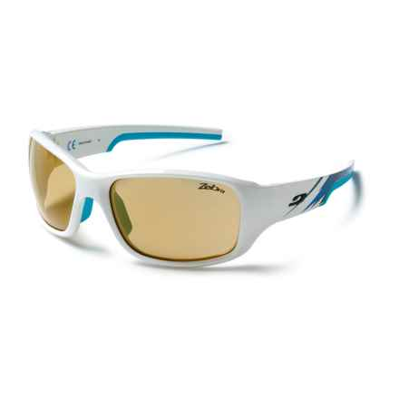 Julbo Stunt Sunglasses - Zebra Photochromic Lenses in White-Blue/Zebra - Closeouts