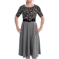 Julian Taylor Pleat Neck Dress - Elbow Sleeve (For Women) in Grey