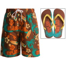 Jump 'N Splash Cargo Swim Trunks and Flip-Flop Set - UPF 40 (For Boys) in Maroon Ride The Waves - Closeouts