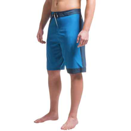 Just Keep Livin Color-Block Boardshorts (For Men) in Classic Blue - Closeouts