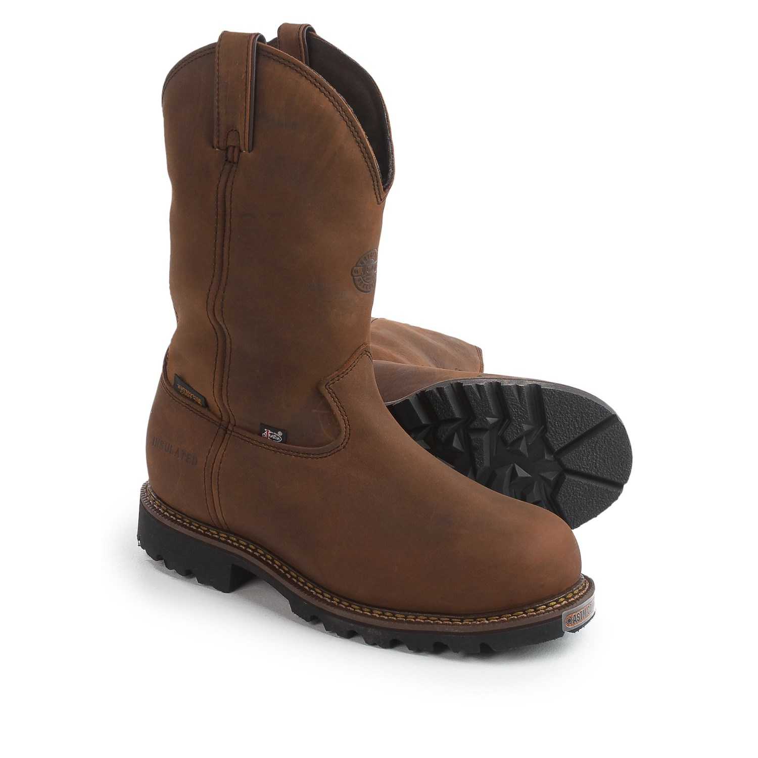 Justin leather work gloves - Justin Boots 11 Stag Gaucho Work Boots Insulated Composite Toe Leather