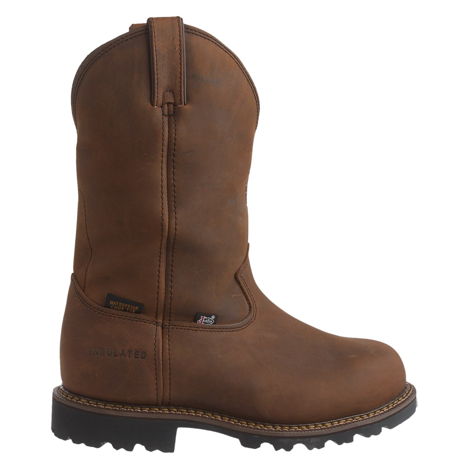 Justin leather work gloves - Justin Boots 11 Stag Gaucho Work Boots Insulated Composite Toe Leather For Men