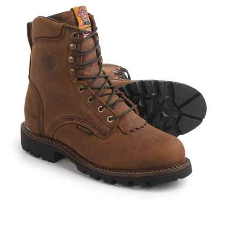 "Justin Boots 8"" Stag Gaucho Work Boots - Waterproof, Insulated, Leather (For Men) in Gaucho - Closeouts"