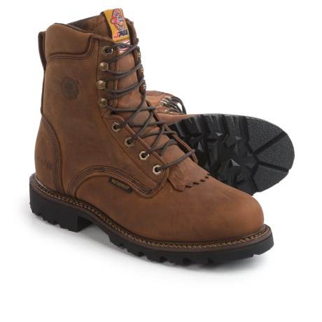 "Justin Boots 8"" Stag Gaucho Work Boots - Waterproof, Insulated, Leather (For Men) in Gaucho"