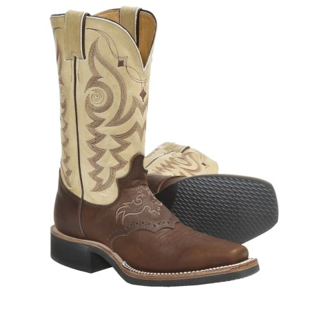 "Justin Boots Aqha Q-Crepe Cowboy Boots - Leather, 11"", Square Toe, Rubber Outsole (For Women) in Mahogany"