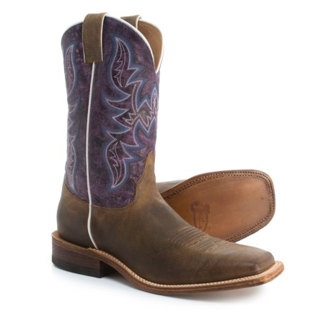 "Justin Boots Austin Cowboy Boots - 11"", Square Toe (For Men) in Tan/Purple"
