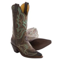 "Justin Boots Bent Rail Cowboy Boots - 12"", Snip Toe (For Women) in Chocolate - Closeouts"