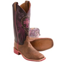 "Justin Boots Bent Rail Cowboy Boots - 13"", Square Toe (For Women) in Old Map Cow - Closeouts"