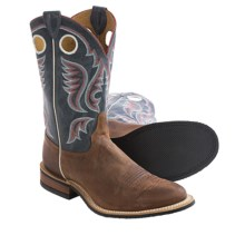 Justin Boots Bent Rail Cowboy Boots - Leather, Round Toe (For Men) in Cognac/Ocean Blue - Closeouts