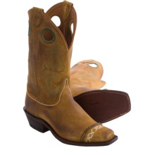 "Justin Boots Bent Rail Suede Cowboy Boots - 11"", Wide Square Toe (For Women) in Sand - Closeouts"