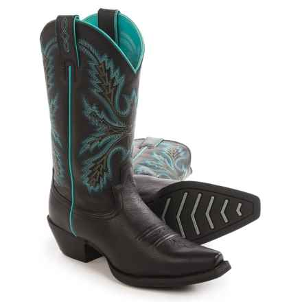 "Justin Boots Black Deercow Cowboy Boots - 12"", Snip Toe (For Women) in Black - Closeouts"