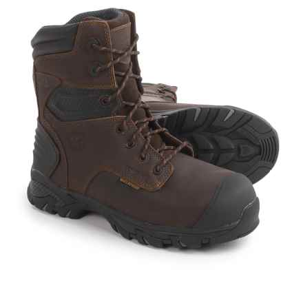 "Justin Boots Brawny Comp Toe Work Boots - Waterproof, Insulated, 8"" (For Men) in Brown - Closeouts"