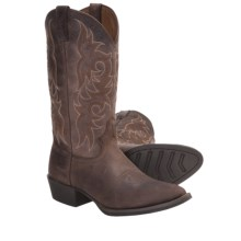 "Justin Boots Cowhide Cowboy Boots - 13"", J12 Medium Round Toe (For Men) in Chocolate - Closeouts"