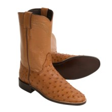 Justin Boots Full-Quill Ostrich Cowboy Boots - J11 Toe, Ropers (For Women) in Cognac - Closeouts
