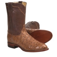 "Justin Boots Full-Quill Ostrich Cowboy Boots - R-Toe, 10"" (For Men) in Brown - Closeouts"