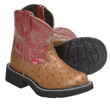 Justin Boots Gypsy Cowboy Boots - Ostrich Print Leather, Round Toe (For Kids and Youth) in Cognac - Closeouts