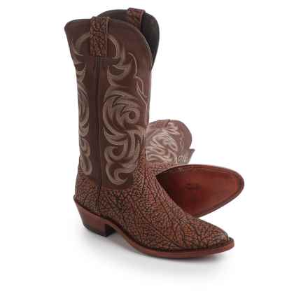 "Justin Boots Indian Chief Badland Cowboy Boots - 13"", J-Toe (For Men) in Brown - Closeouts"