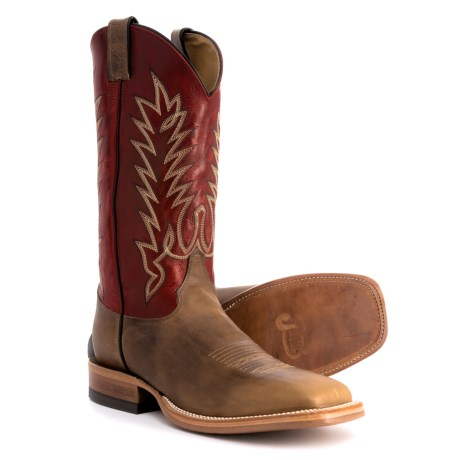 "Justin Boots Lomitas Wide Cowboy Boots - 13"", Square Toe (For Men) in Tan/Crimson"