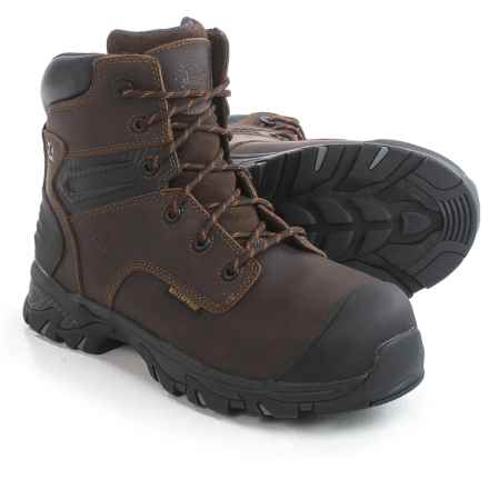 "Justin Boots Original 6"" Work Boots - Composite Safety Toe, Waterproof (For Men) in Brown - Closeouts"