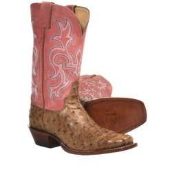 Justin Boots Punchy Cowboy Boots - Full-Quill Ostrich, Square Toe (For Women) in Antique Tan/Pink