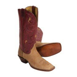 "Justin Boots Remuda J124-Toe Cowboy Boots - 13"", AQHA (For Women) in Pecan/Red"