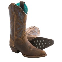 "Justin Boots Silver Cowboy Boots - 12"", Snip Toe (For Women) in Antique Brown - Closeouts"